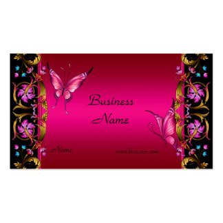 Elegant Floral Gold Pink  Black Butterfly Double-Sided Standard Business Cards (Pack Of 100)