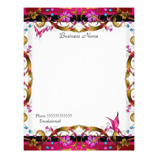 Elegant Floral Gold Pink Black Butterfly Flyer