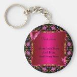 Elegant Floral Gold Pink Black Butterfly Keychains