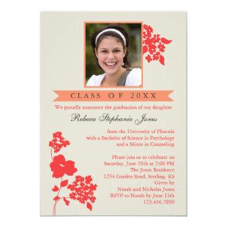 Elegant Floral Graduation Photo Invitation Coral/I