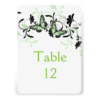 Elegant Floral Green Butterfly Table card