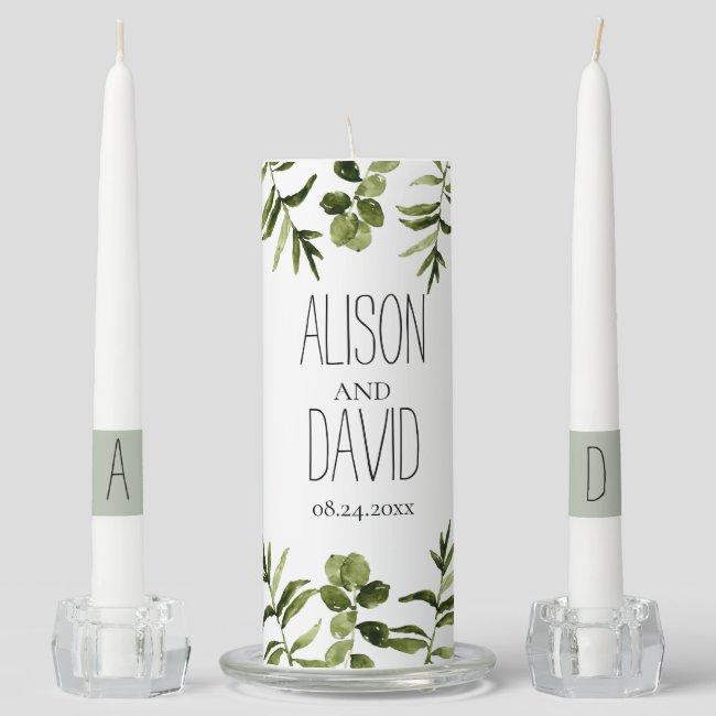 Elegant floral greenery wedding unity candle