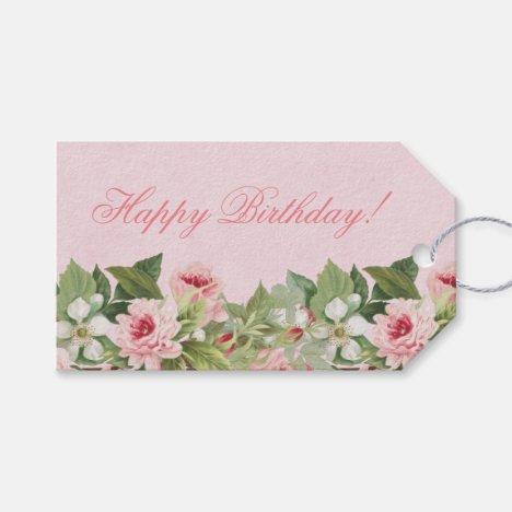 Elegant floral Happy Birthday gift tag w/ flowers