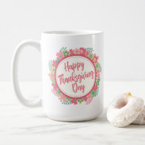 Elegant Floral Happy Thanksgiving | Classic Mug