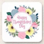 Elegant Floral Happy Thanksgiving | Coaster