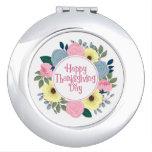 Elegant Floral Happy Thanksgiving Compact Mirror