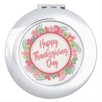 Elegant Floral Happy Thanksgiving Compact Mirror
