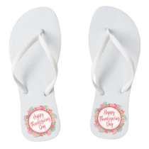 Elegant Floral Happy Thanksgiving | Flip Flops