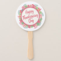 Elegant Floral Happy Thanksgiving | Hand Fan