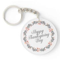 Elegant Floral Happy Thanksgiving | Keychain