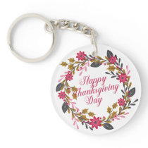 Elegant Floral Happy Thanksgiving   Keychain