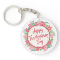 Elegant Floral Happy Thanksgiving | Keychain