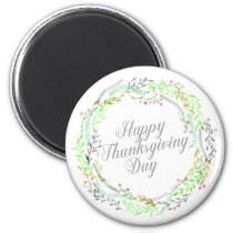 Elegant Floral Happy Thanksgiving | Magnet