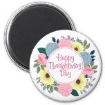Elegant Floral Happy Thanksgiving | Magnet
