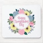 Elegant Floral Happy Thanksgiving | Mousepad