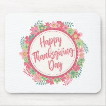Elegant Floral Happy Thanksgiving | Mousepad