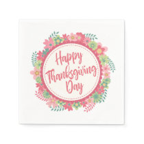 Elegant Floral Happy Thanksgiving | Napkin