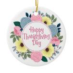 Elegant Floral Happy Thanksgiving | Ornament