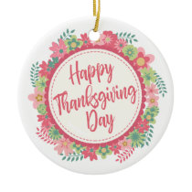 Elegant Floral Happy Thanksgiving | Ornament
