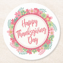 Elegant Floral Happy Thanksgiving | Paper Coaster