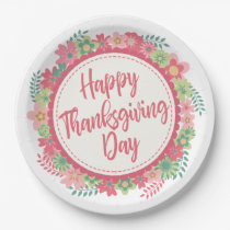 Elegant Floral Happy Thanksgiving | Paper Plate