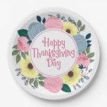 Elegant Floral Happy Thanksgiving | Paper Plate
