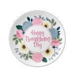 Elegant Floral Happy Thanksgiving Porcelain Plate