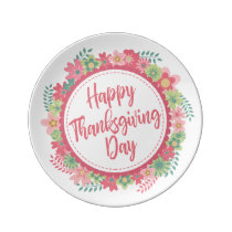 Elegant Floral Happy Thanksgiving Porcelain Plate