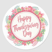 Elegant Floral Happy Thanksgiving | Sticker Seal