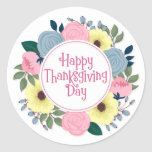 Elegant Floral Happy Thanksgiving | Sticker Seal