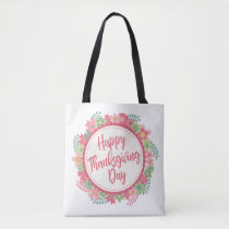Elegant Floral Happy Thanksgiving | Tote Bag