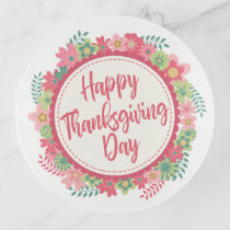 Elegant Floral Happy Thanksgiving | Trinket Tray