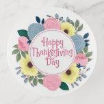 Elegant Floral Happy Thanksgiving | Trinket Tray