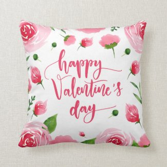 Elegant Floral Happy Valentine's Day Throw Pillow
