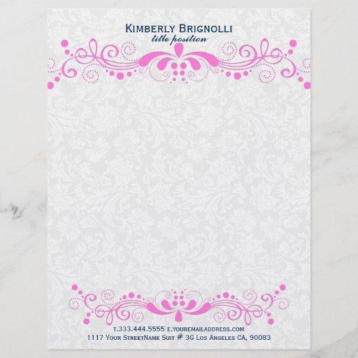 Elegant Floral Hot Pink Lace With White Damasks Letterhead