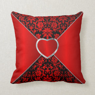 Elegant Floral in Black and Deep Red Throw Pillow