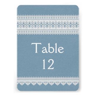 Elegant Floral Lace Blue Table card