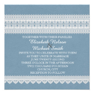 Elegant Floral Lace Blue Wedding Invite