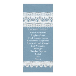 Elegant Floral Lace Blue Wedding Menu Custom Invitations