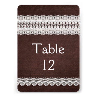 Elegant Floral Lace Brown Table card