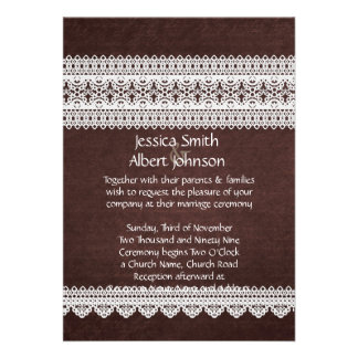 Elegant Floral Lace Brown Wedding Invite