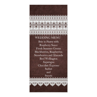 Elegant Floral Lace Brown Wedding Menu Invitation Cards