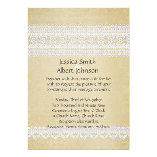 Elegant Floral Lace Gold Wedding Invite