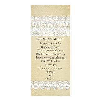 Elegant Floral Lace Gold Wedding Menu Invite