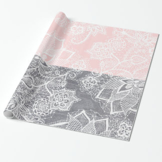 Elegant floral lace gray wood pastel pink block wrapping paper