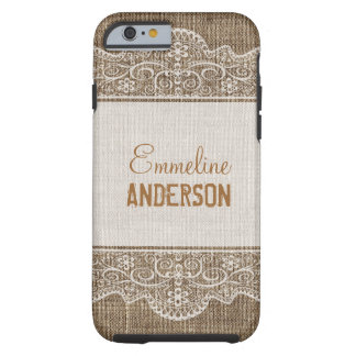 Elegant Floral Lace in Vintage Rustic Burlap Tough iPhone 6 Case