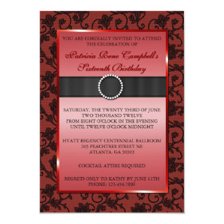 Elegant Floral Lace Invite [Red]