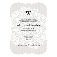 Elegant Floral Lace Neutral Wedding Invitation