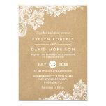 Elegant Floral Lace Pattern Kraft | Formal Wedding Card