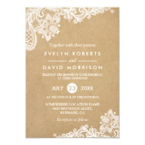 Elegant Floral Lace Pattern Kraft | Formal Wedding Invitation